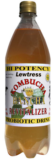 Lewtress Bancha Kombucha Tea Probiotic Health Drink - 2 x 1 Litre Bottles