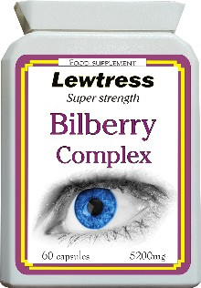 Eye Health : Bilberry : Lewtress Bilberry & Pine Bark Extract - Super Strength 5200mg Capsules